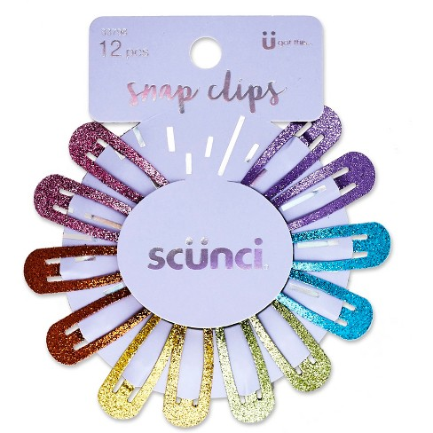 Scunci Glitter Rainbow Snap Clips - 12pk - image 1 of 3