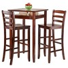 3 Piece Halo Set Pub Table with Ladder Back Bar Stools Wood/Walnut - Winsome - image 2 of 3