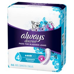 Always Discreet Incontinence Pads - Moderate Absorbency - Regular - Size 4 - 66ct