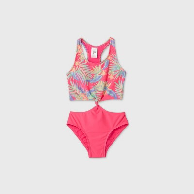 Girls' Palm Leaf Tie-Front One Piece Swimsuit - art class™ Pink