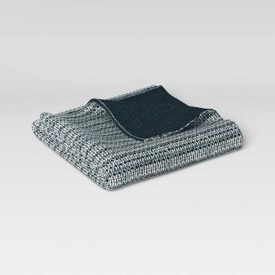 "60""x50"" Reversible Knit Throw Blanket Navy/Cream - Threshold™"