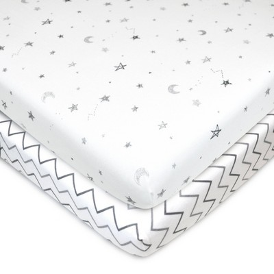 TL Care 100% Fitted Cotton Mini Crib Sheet - Star Cheveron 2pk