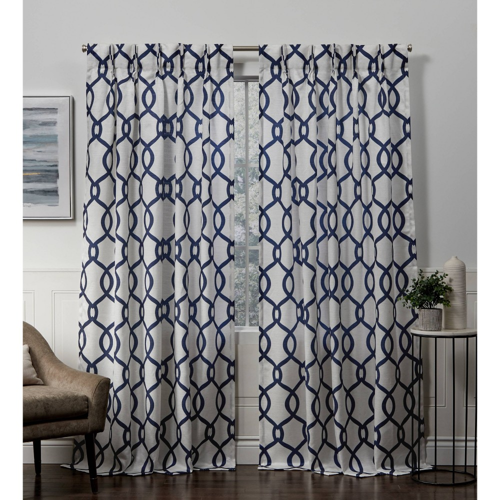 """Image of """"54""""""""x96"""""""" Kochi Pinch Pleated Light Filtering Window Curtain Panels Indigo - Exclusive Home, Blue"""""""