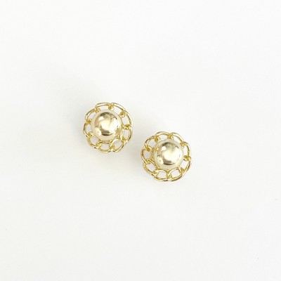 Sanctuary Project Ball and Chain Flower Circle Stud Earrings Gold