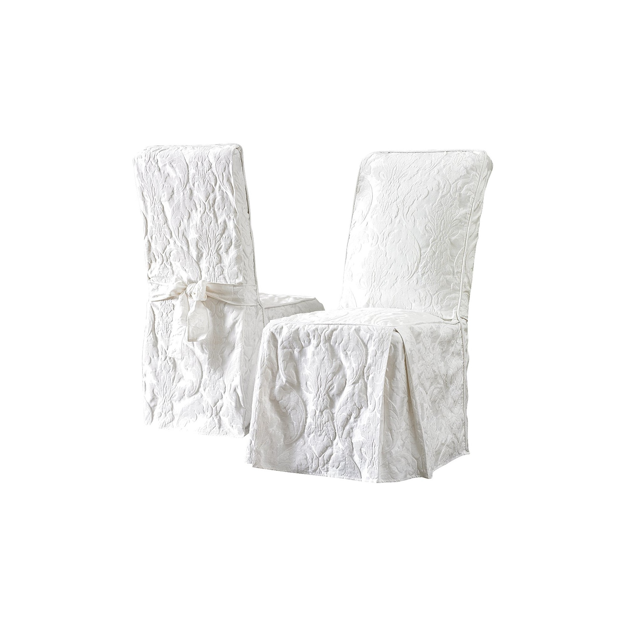 Matelasse Damask Dining Room Chair Cover White - Sure Fit