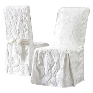 Matelasse Damask Dining Room Chair Cover White - Sure Fit, Size: Long Dining Room Chair