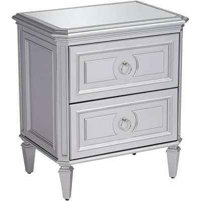 """55 Downing Street Aurora 26"""" Wide 2-Drawer Mirrored and Silver Side Table"""