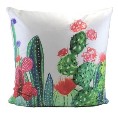 "Home Decor 15.5"" Cacti Square Pillow Desert Plant Flowering  -  Decorative Pillow"