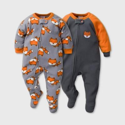 Gerber Baby Boys' 2pk Fox Footed Pajama - Black 3-6M