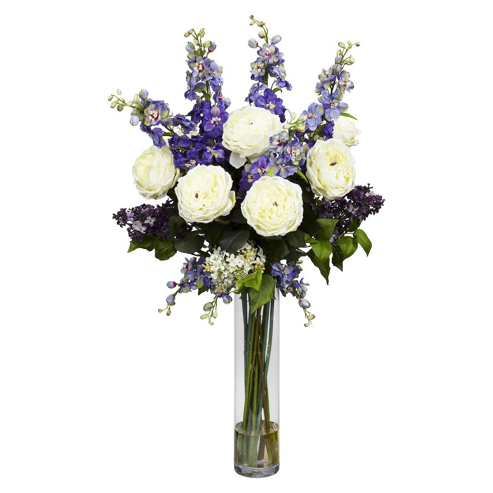 "Nearly Natural Rose, Delphinium and Lilac Silk Flower Arrangement, Purple Celebrate the warm weather with this incredible arrangement of ""springtime color"" from Nearly Natural's Floral Collection. We've selected some of our finest floral offerings (such as soft delphiniums and delicate lilacs, and brought them together in a beautiful 18"" glass vase (complete with faux water). It's a literal burst of sunshine, and makes the perfect finishing touch for any room. Color: Purple."