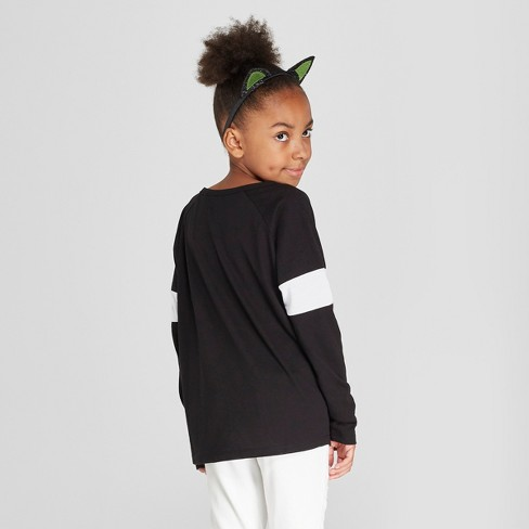 e61fc12396a97b Girls  Nightmare Before Christmas Graphic Long Sleeve T-Shirt - Black