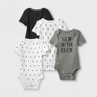 Baby 4pk Short Sleeve Bodysuit - Cloud Island™ Gray/White 6-9M