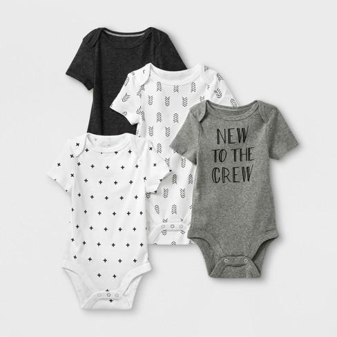 Baby 4pk Short Sleeve Bodysuit - Cloud Island™ Gray/White - image 1 of 1