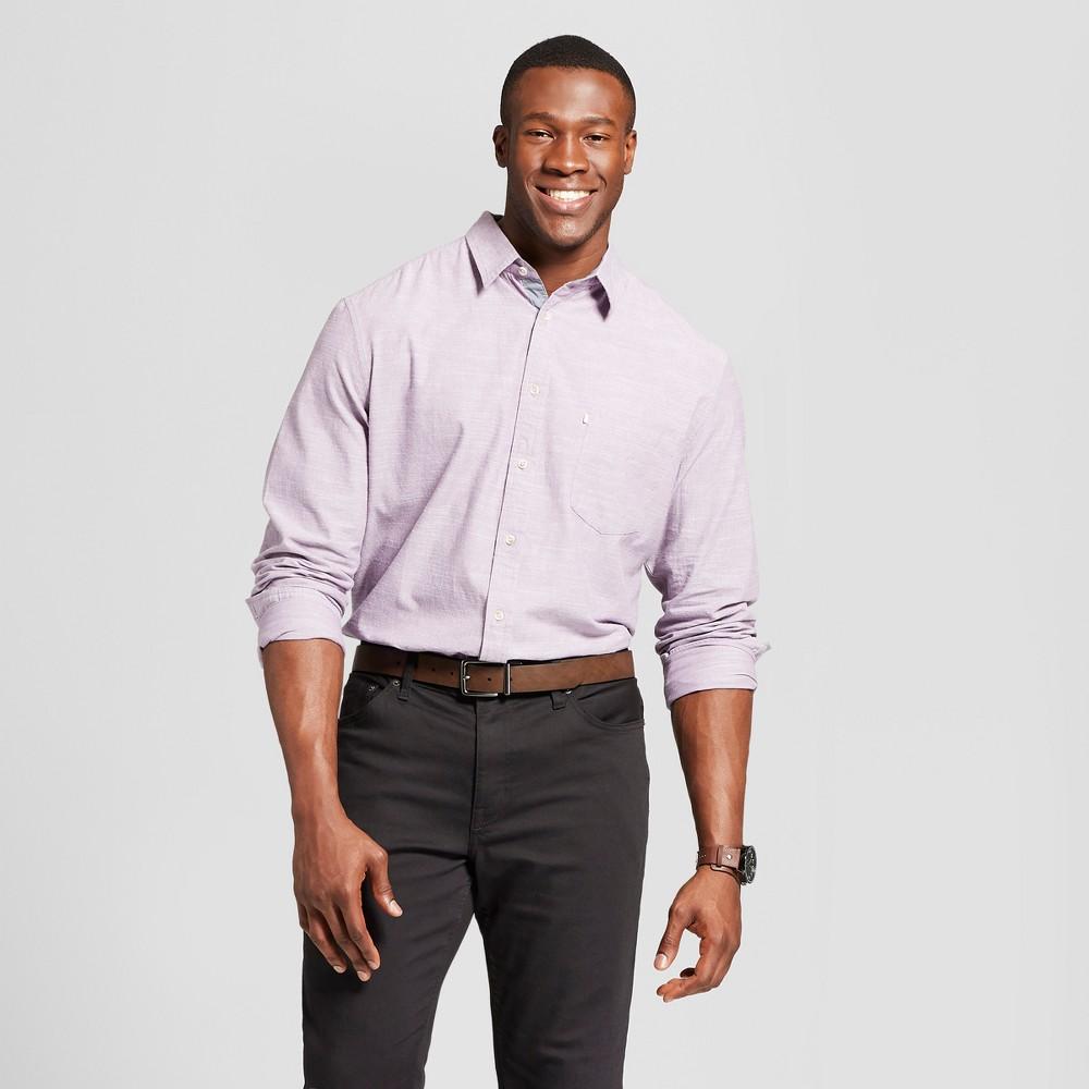Men's Big & Tall Standard Fit Cotton Slub Solid Long Sleeve Button-Down Shirt - Goodfellow & Co Violet (Purple) 2XB