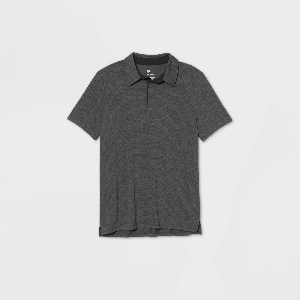 Men's Jersey Golf Polo Shirt - All in Motion Black Microstripe XL was $20.0 now $12.0 (40.0% off)