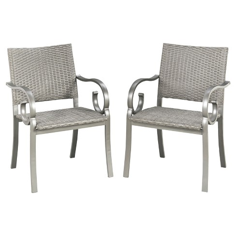 Capri 2pk All-Weather Wicker Patio Arm Chairs - Gray - Home Styles - image 1 of 1