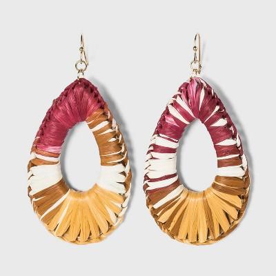 Ombre Raffia Woven Teardrop Earrings - A New Day™