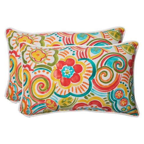 Pillow Perfect Bronwood Outdoor 2 Piece Lumbar Throw Pillow Set