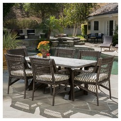 Magdalena 7pc Wicker and MGO Dining Set with Cushions - Brown - Christopher Knight Home