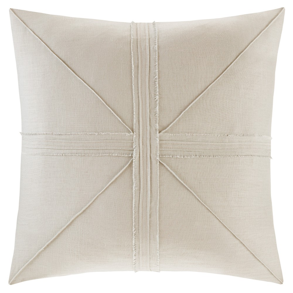 Best Review Cream Fifer Linen Frayed Throw Pillow 24x24