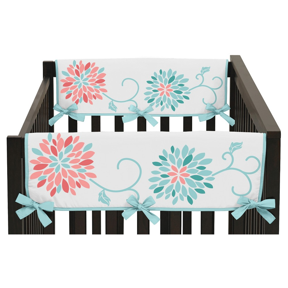 Sweet Jojo Designs Emma Side Crib Rail Guard Covers (Set of 2) - Coral