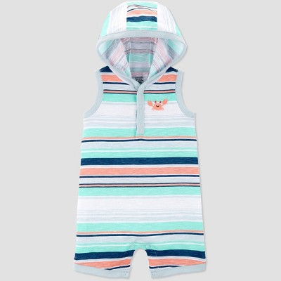 Baby Boys' Crab Embroided Stripe One Piece Romper - Just One You® made by carter's Green/White 9M