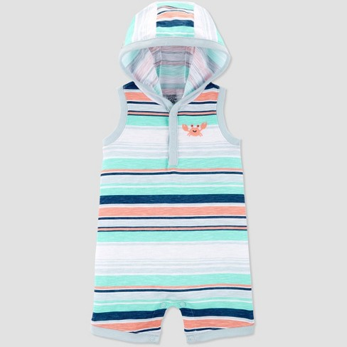 Baby Boys' Crab Embroided Stripe One Piece Romper - Just One You® made by carter's Green/White - image 1 of 1