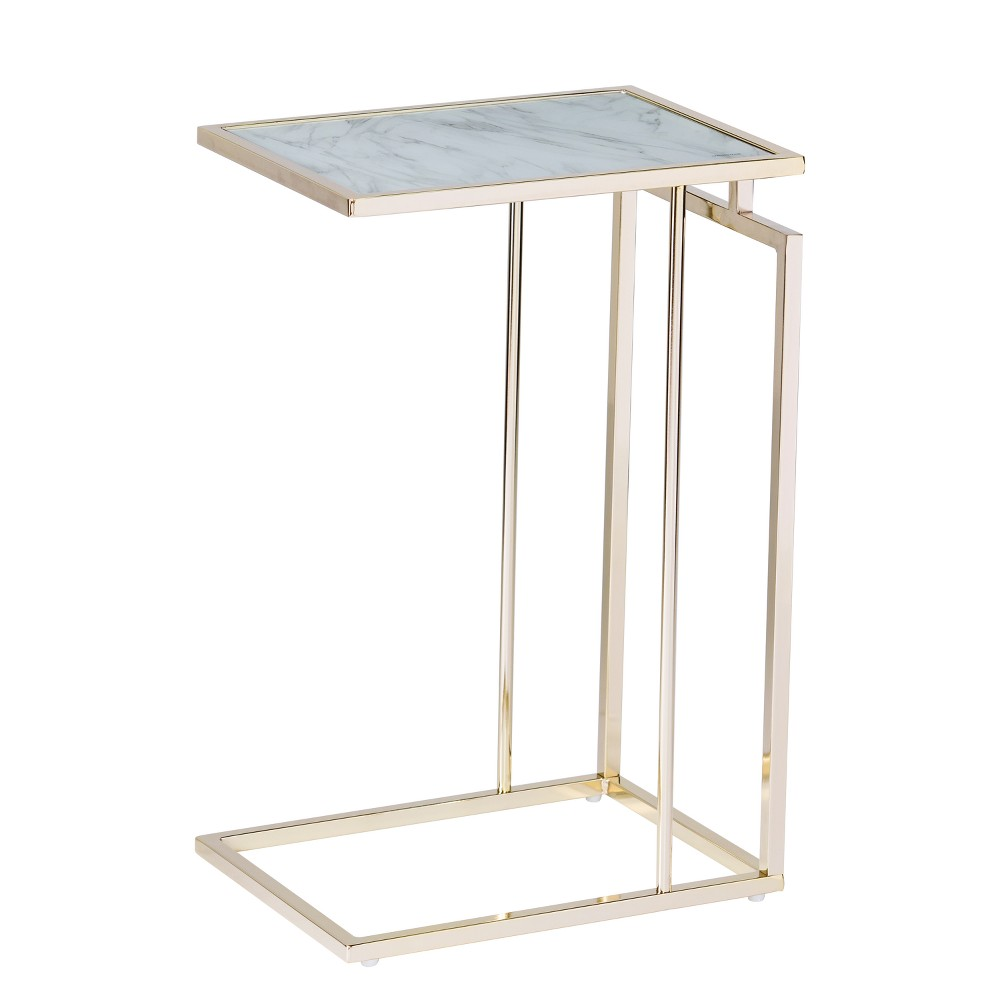 Image of Holly & Martin Colbi Glass Topped C Table Champagne With White Faux Marble Glass