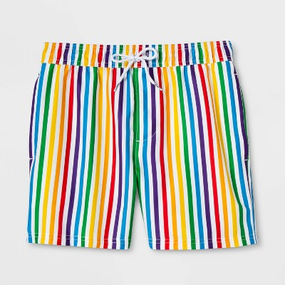 Pride Gender Inclusive Adult Striped Rainbow Swim Trunks
