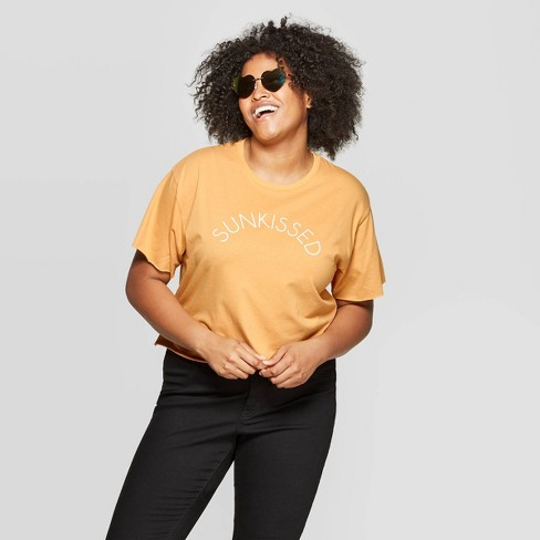 Women's Plus Size Short Sleeve Sunkissed Cropped Graphic T-Shirt - Modern Lux (Juniors') - Yellow - image 1 of 2