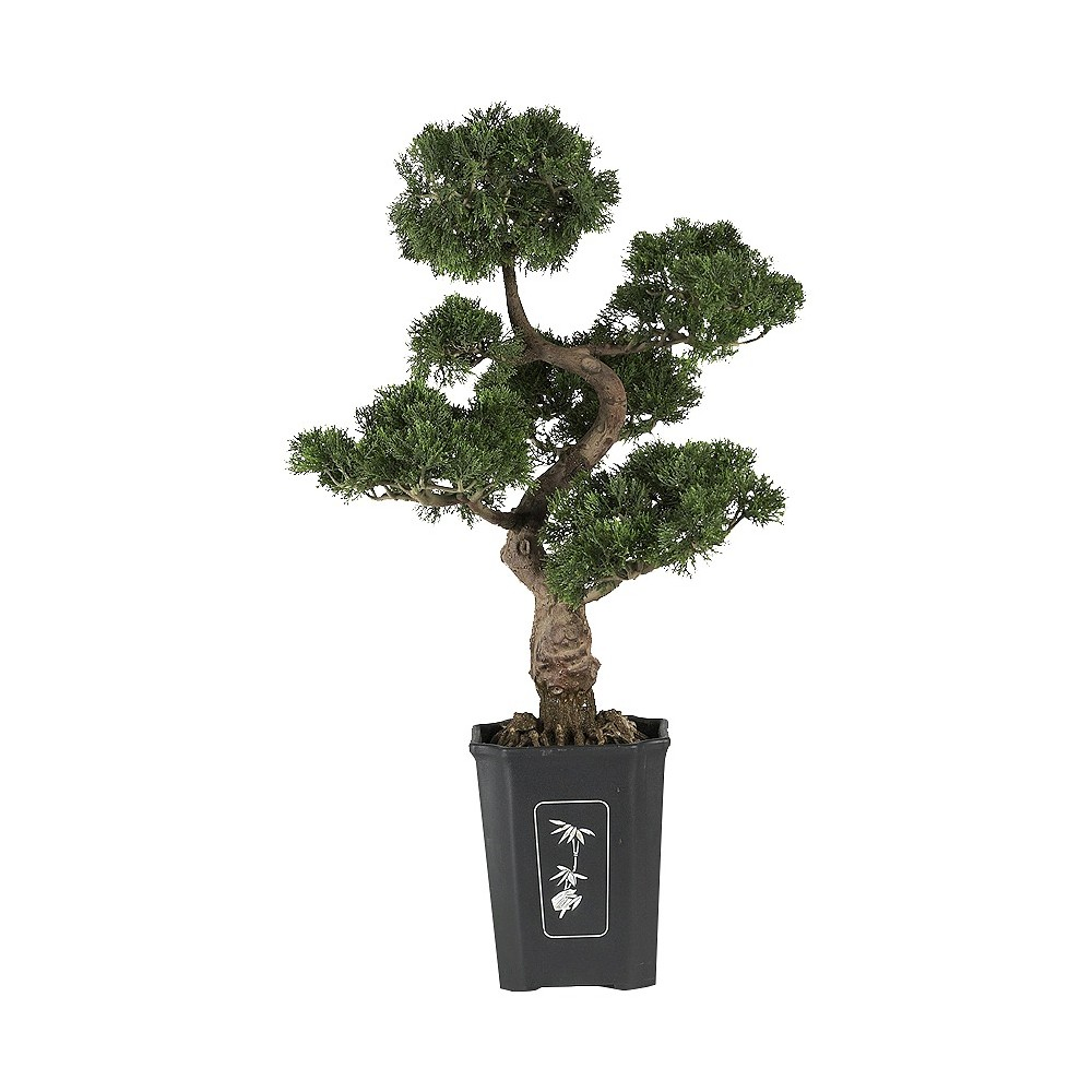 Nearly Natural 36  Cedar Bonsai Silk Plant Bring an organic twist to your space with the Cedar Bonsai Silk Plant from Nearly Natural. This realistic piece of home decor is an exceptional replica of a traditional bonsai tree, complete with perfectly pruned shrubs. Featuring a decorative planter base with a white bamboo graphic, realistic root structure, a trunk and beautiful artificial bonsai leaves trimmed in life-like form. Made from durable material, it is a breeze to maintain and clean, making this accent ideal for outdoor use as well.