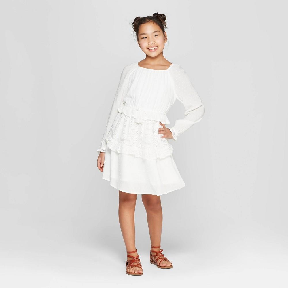 Girls' Ruffle Tier Dress - art class White Xxl