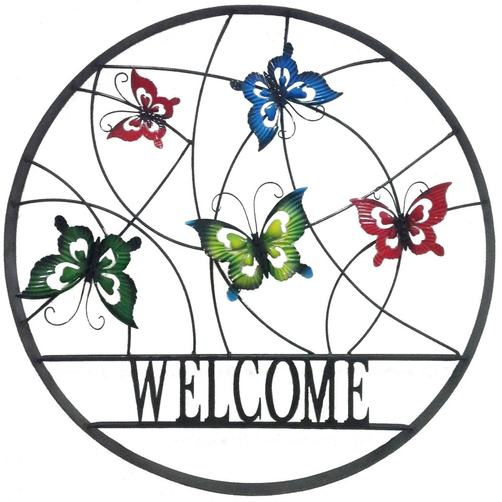 Image of 24H Metal Outdoor Wall Art - Backyard Expressions, Multi-Colored