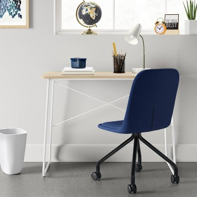 Delicieux Upholstered Rolling Desk Chair Navy   Room Essentials™