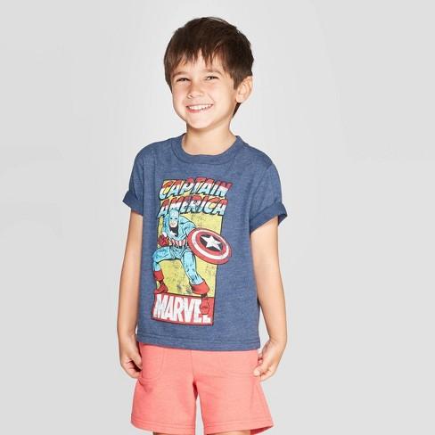 Toddler Boys' Captain America T-Shirt - Navy - image 1 of 3