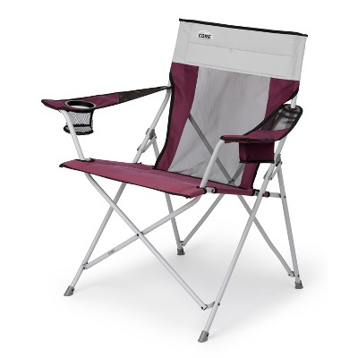 Core Heavy Duty Portable Outdoor Summer Lawn Camping Tension Folding Chair with Carrying Storage Bag, Wine