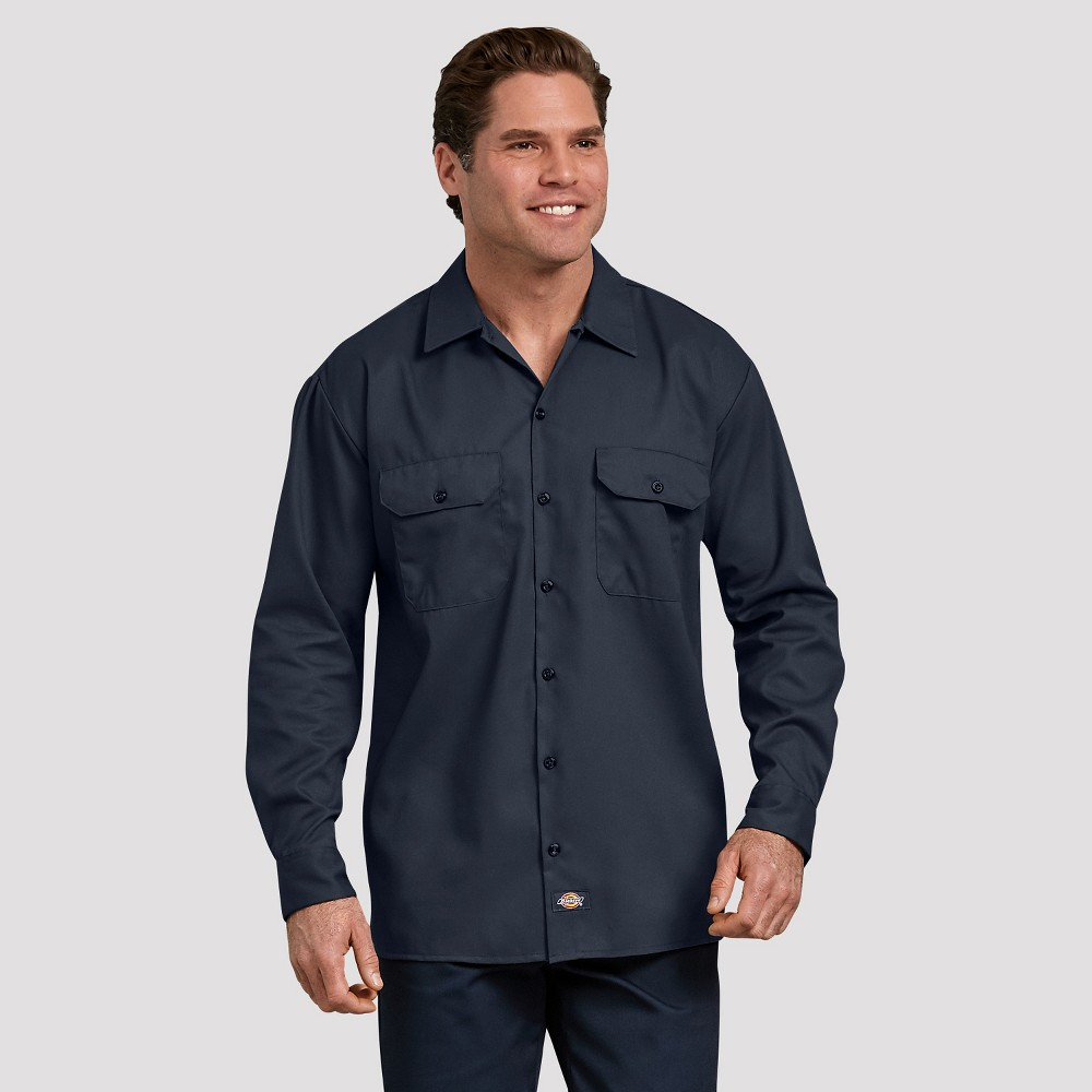 Dickies Men's Relaxed Fit Long Sleeve Button-Down Shirt - Deep Navy M