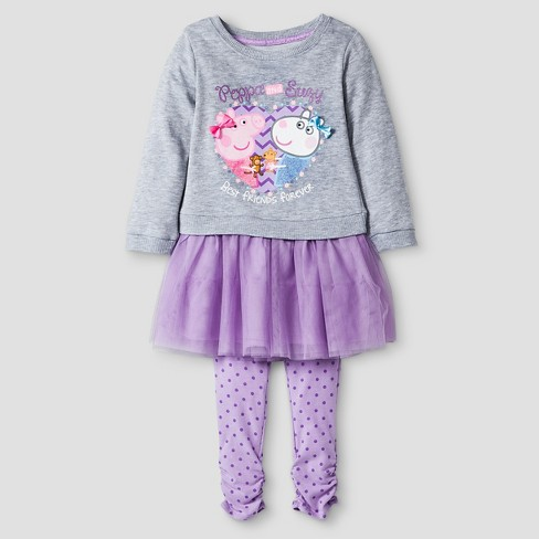 Toddler Girls' Peppa Pig Top And Bottom Set - Purple - image 1 of 2
