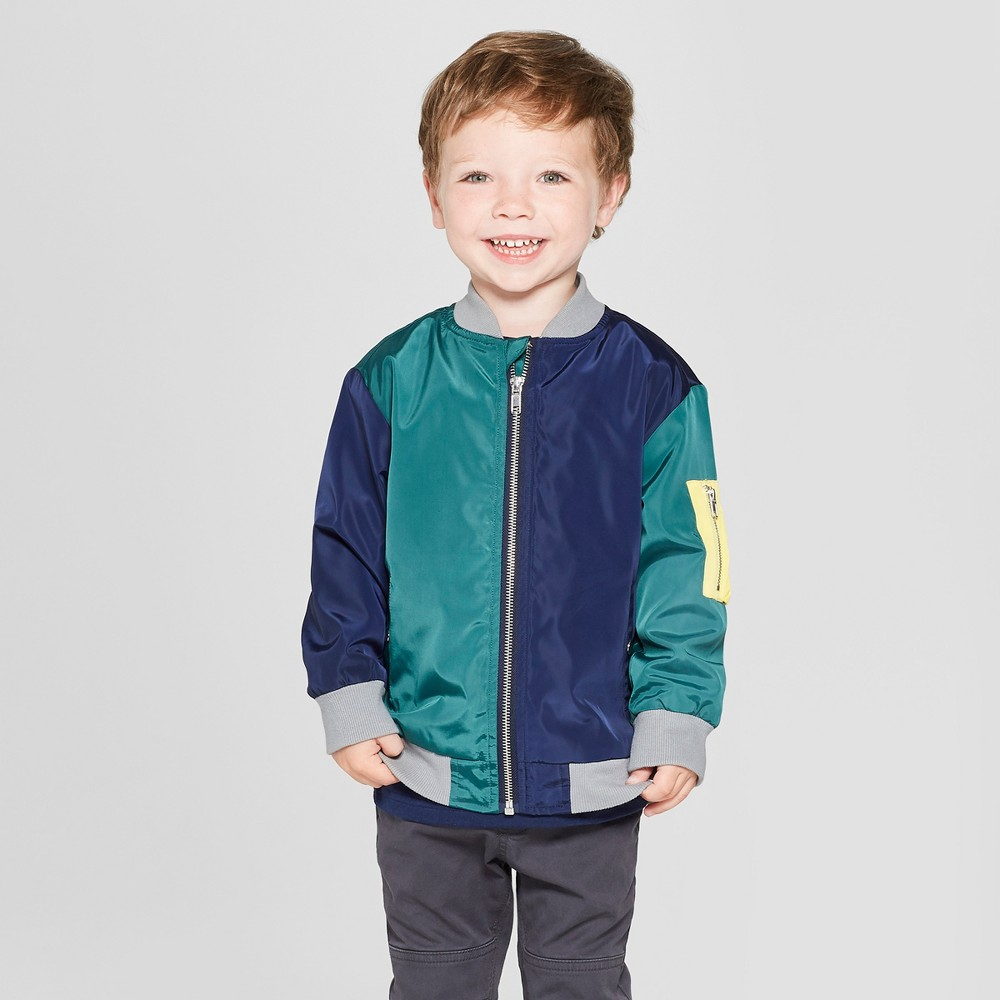 Toddler Boys' Colorblock Bomber Jacket - Cat & Jack Navy 4T, Blue