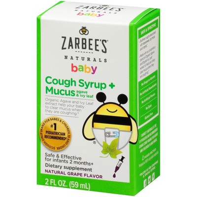 Zarbee's Naturals Baby Cough Syrup & Mucus Reducer Liquid - Grape - 2 fl oz