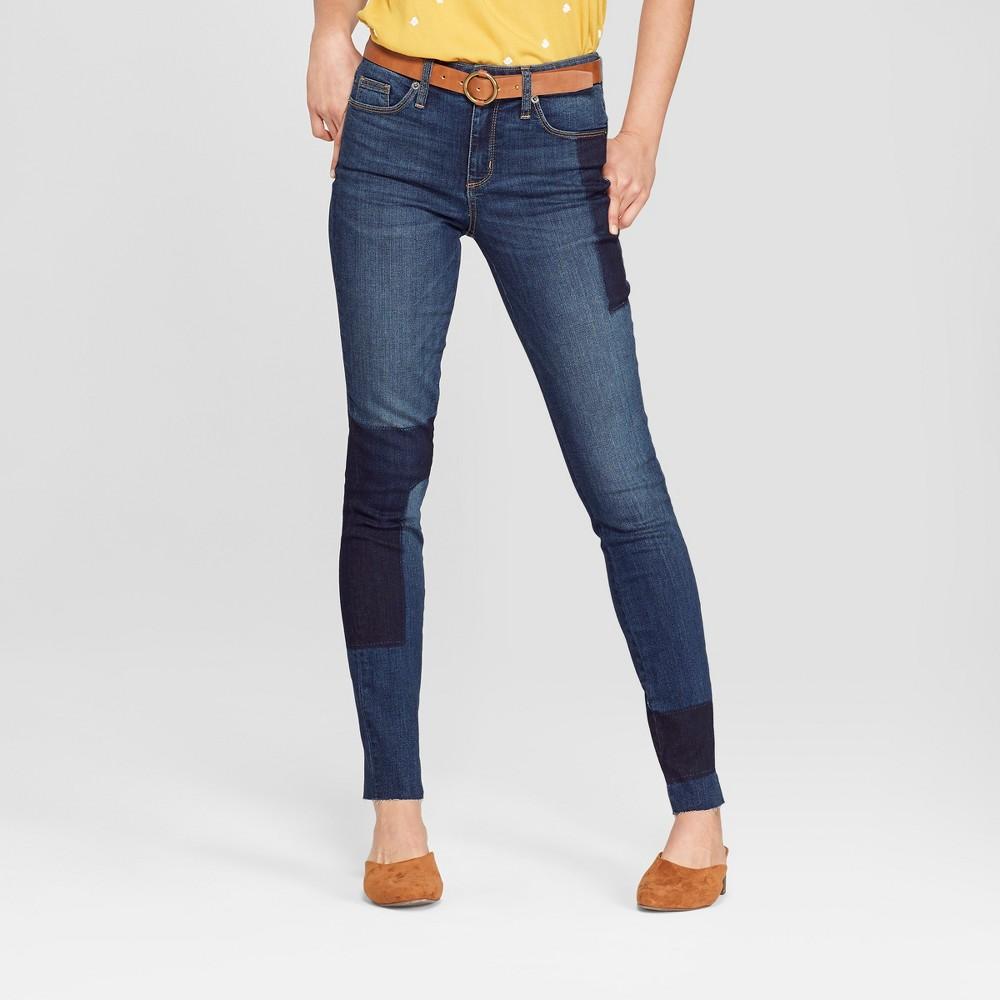 Women's High-Rise Patchwork Skinny Jeans - Universal Thread Dark Wash 6 Long, Blue