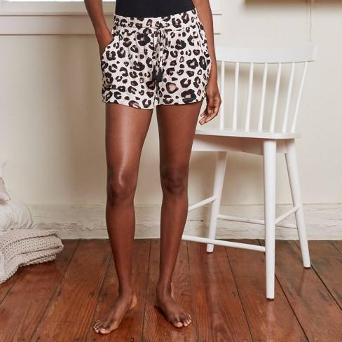 Women's Animal Print Beautifully Soft Pajama Shorts - Stars Above™ Oatmeal - image 1 of 3