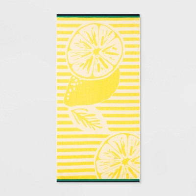 Lemon Stripe Beach Towel XL Yellow - Sun Squad™
