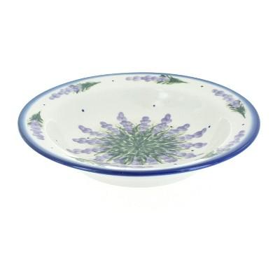 Blue Rose Polish Pottery Lavender Fields Soup Plate with Rim