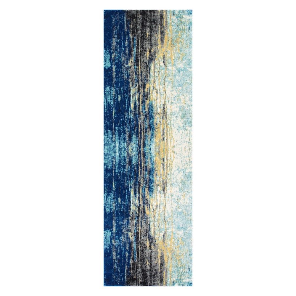 Blue Solid Loomed Runner 3'X12' - nuLOOM