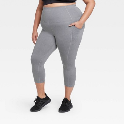 "Women's Plus Size Sculpted High-Waisted Capri Leggings 21"" - All in Motion™ Charcoal Gray"