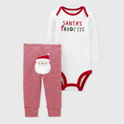 Baby 2pc Christmas 'Santa's Favorite' Top and Bottom Set - Just One You® made by carter's Red/White Newborn