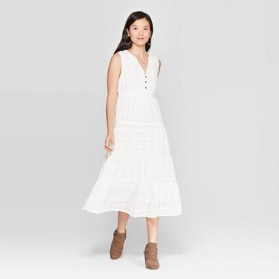 Women's Printed Sleeveless  V Neck Maxi Dress   Knox Rose White by Neck Maxi Dress