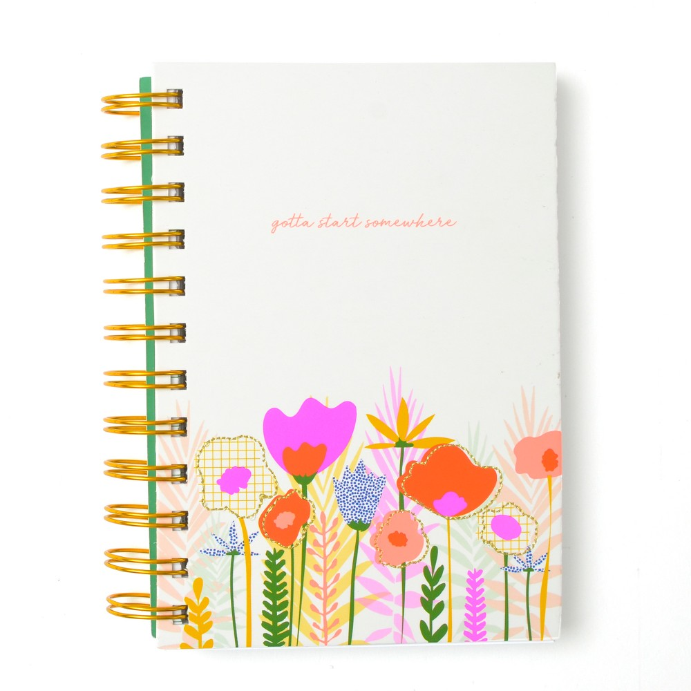 Spiral Journal with Floral Patch 4.5