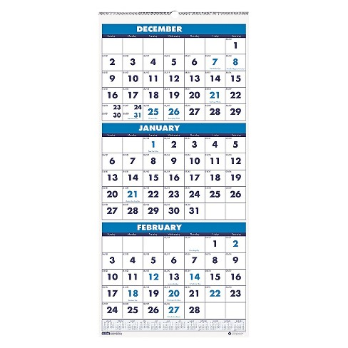 House Of Doolittle Recycled Three Month Format Wall Calendar 8x17